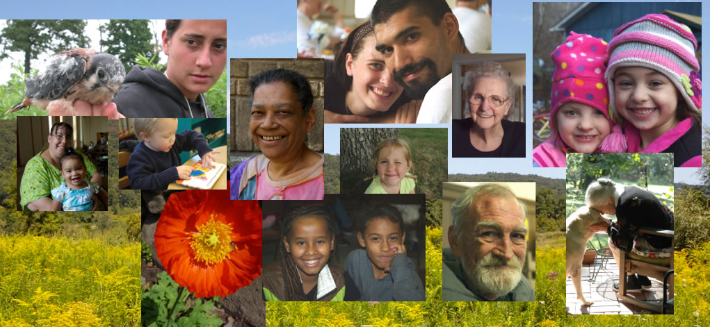 Collage of images including a diverse group of men, women, children, a flower, a bird, a dog and outdoor scenes.